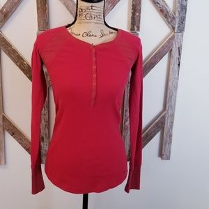 Eddie Bauer red thermal henley long sleeve XS